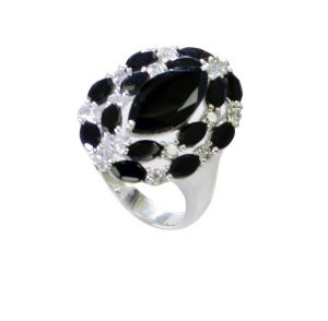 Riyo Black Onyx Girls Silver Jewellery Silver Ring Wholesale Sz 10 Srbon10-6033