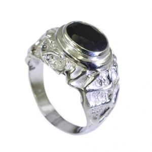 Riyo Black Onyx Funky Silver Jewellery Uk Silver Ring Sz 7.5 Srbon7.5-6026