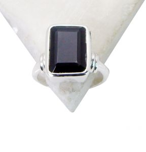 Riyo Black Onyx Funky Silver Jewellery Silver Ring For Women Sz 7.5 Srbon7.5-6036