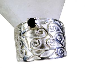 Riyo Black Onyx Fair Trade Silver Jewelry Silver Mum Ring Sz 8 Srbon8-6012