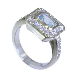Riyo Blue Topaz India Silver Jewellery Claddagh Ring Sz 7 Srbto7-10026