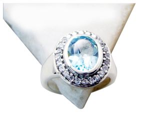 Riyo Blue Topaz Modern Silver Jewellery Purity Ring Jewelry Sz 7 Srbto7-10049