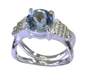 Riyo A Blue Topaz 925 Solid Sterling Silver Hand Wrapped Ring Srbto75-10112