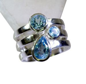Riyo Blue Topaz Silver 925 Jewellery Sovereign Ring Sz 8 Srbto8-10084