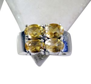 Riyo Citrine Silver Initial Jewelry Silver Mesh Ring Sz 6 Srcit6-14030