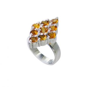 Riyo Citrine Silver Jewellery Supplier Wide Silver Band Ring Sz 7 Srcit7-14070