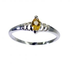 Riyo Yellow Citrine 925 Solid Sterling Silver Intricate Ring Srcit70-14091