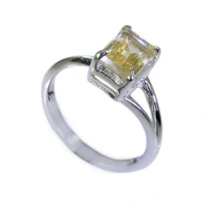 Riyo Yellow Citrine 925 Solid Sterling Silver Jewel Tone Ring Srcit70-14098