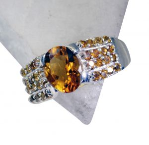 Riyo Citrine Silver Jewellery Gifts Silver Sister Ring Sz 8 Srcit8-14052