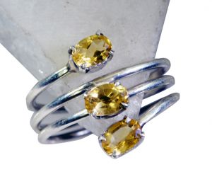 Riyo Citrine Silver Jewellery In India Silver Stack Ring Sz 8 Srcit8-14053