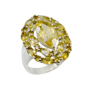 Riyo Yellow Citrine 925 Solid Sterling Silver Ornate Ring Srcit85-14077