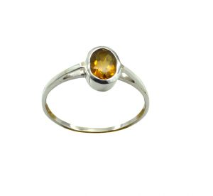 Riyo Yellow Citrine 925 Solid Sterling Silver Polished Ring Srcit90-14085