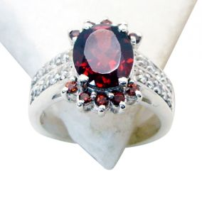 Riyo Garnet Artisan Silver Jewelry Guard Ring Jewellery Sz 6.5 Srgar6.5-26108