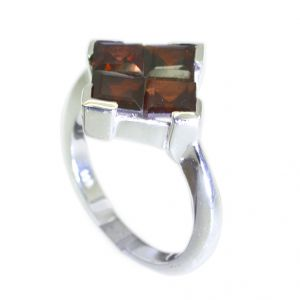 Riyo Red Garnet 925 Solid Sterling Silver Smooth Ring Srgar75-26261