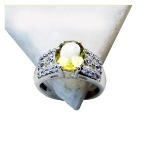 Riyo Lemon Quartz Silver Chunky Jewellery Thumb Ring Sz 5.5 Srlqu5.5-46001