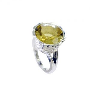 Riyo Lemon Quartz Silver Designer Jewelry Class Ring Sz 5.5 Srlqu5.5-46016