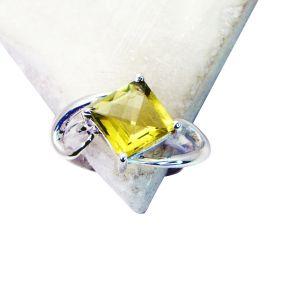 Riyo Lemon Quartz Silver Costume Jewellery Birthstones Ring Sz 7 Srlqu7-46002