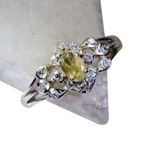 Riyo Lemon Quartz Silver Daisy Jewellery Ring Sz 9 Srlqu9-46013