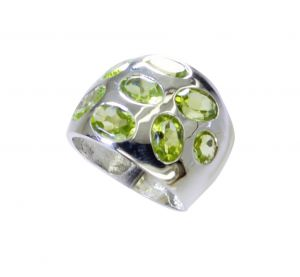 Riyo Peridot Silver Jewelry On Sale Handmade Ring Sz 7.5 Srper7.5-58045