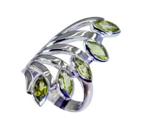 Riyo Green Peridot 925 Solid Sterling Silver Wear Anywhere Ring Srper90-58053