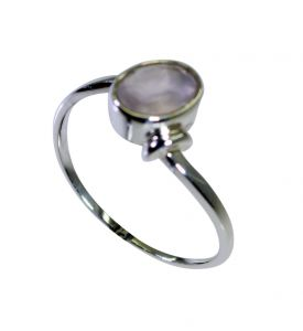 Riyo Rose Quartz Silver Lady Jewellery Mori Ring Sz 8 Srroq8-68019