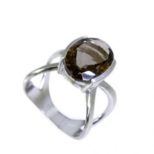 Riyo Smoky Quartz Silver Queen Jewellery Eternity Ring Sz 6 Srsqu6-76023