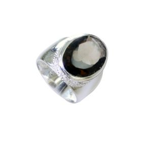 Riyo Smoky Quartz Stamped Silver Jewelry Large Silver Ring Sz 6 Srsqu6-76038