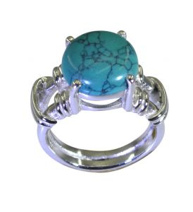 Riyo A Turquoise 925 Solid Sterling Silver Cut Out Ring Srtur65-82038