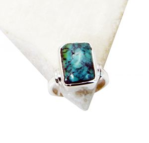 Riyo Turquoise Fuse Silver Jewellery Handmade Silver Ring Sz 7 Srtur7-82017