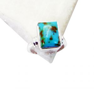 Riyo Turquoise Gemstone And Silver Heavy Silver Ring Sz 7 Srtur7-82018