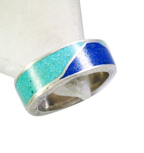 Riyo Turquoise Gold And Silver Jewellery Personalized Silver Ring Sz 7 Srtur7-82024