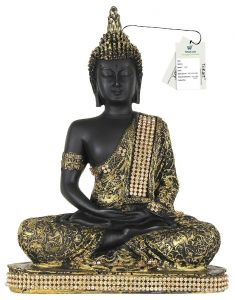 TiiKart Antique Meditating Buddha Statue Showpiece - 23 Cm Height (Polyresin, Antique Green, Black, Gold (Multicolor)) Buddha Idol