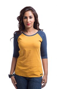 "Cult Fiction Cotton Yellow Solid Women""s Round Neck T-shirt-(code-cfg3aw409)"