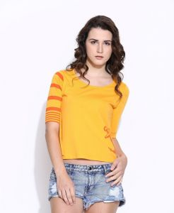 Cult Fiction Yellow Cotton Three Quarter Length Tee For Women