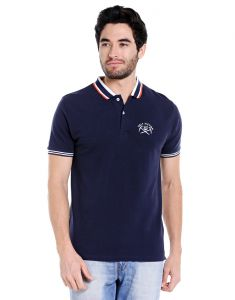 Cult Fiction Polo Neck Navy Embroidered 100% Cotton Pique Fabric T-shirt For Men(code-cfm17awny01pk4003)