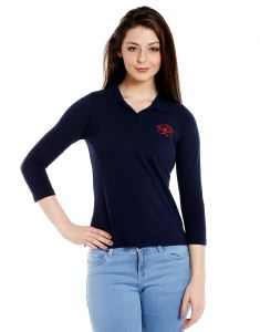 Cult Fiction Polo Neck Navy 100% Cotton Fabric T-shirt For Women(code-cfg17awny01pk4129)