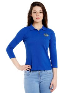 Cult Fiction Polo Neck Royal Blue 100% Cotton Fabric T-shirt For Women(code-cfg17awrb01pk4129)