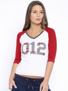 Cult Fiction Red & White Mel Color Tshirts For Women.