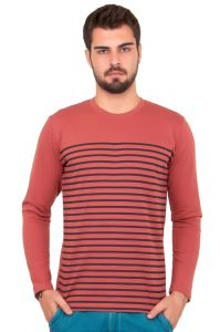 Cult Fiction Striped Pink Color Cotton Tshirt