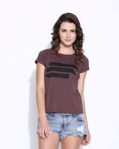 Cult Fiction Purple Cotton Cap Sleeve Tee For Women