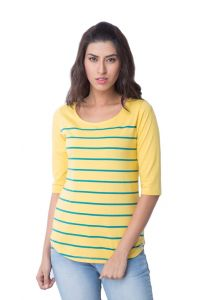 Cult Fiction Cotton Scoop Neck Yellow Womens T-shirt