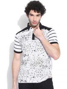 Cult Fiction Polo With Contrast Collar White Marl T-shirt For Mens