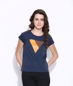 Cult Fiction Blue Cotton Cap Sleeve Tee For Women