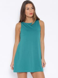 Cult Fiction T-blue Color Boat Neck A-line Dress For Women