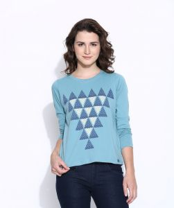 Cult Fiction Blue Cotton Three Quarter Length Tee For Women