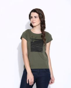 Cult Fiction Olive Cotton Cap Sleeve Tee For Women