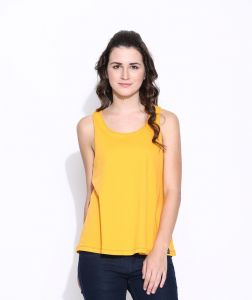 Cult Fiction Yellow Cotton Solid Sleeveless Tee For Women