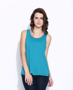 Cult Fiction Blue Cotton Sleeveless Tee For Women