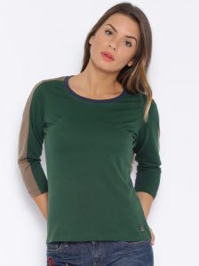 Cult Fiction Dark Green Color Round Neck Cotton Tshirts For Women