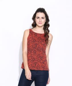 Cult Fiction Orange Cotton Printed Sleeveless Tee For Women